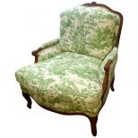 Large Comfy French Bergere Lounge Chair Upholstered In Toile At 1stdibs