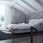 Large Minimalist Industrial Interior Design Bedroom With Grey Bed On