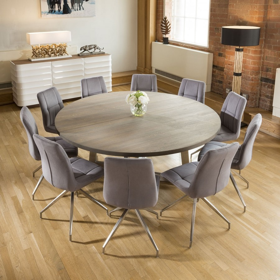Large Round 18 Grey Oak Dining Table 10 Grey Velvet Swivel Chairs
