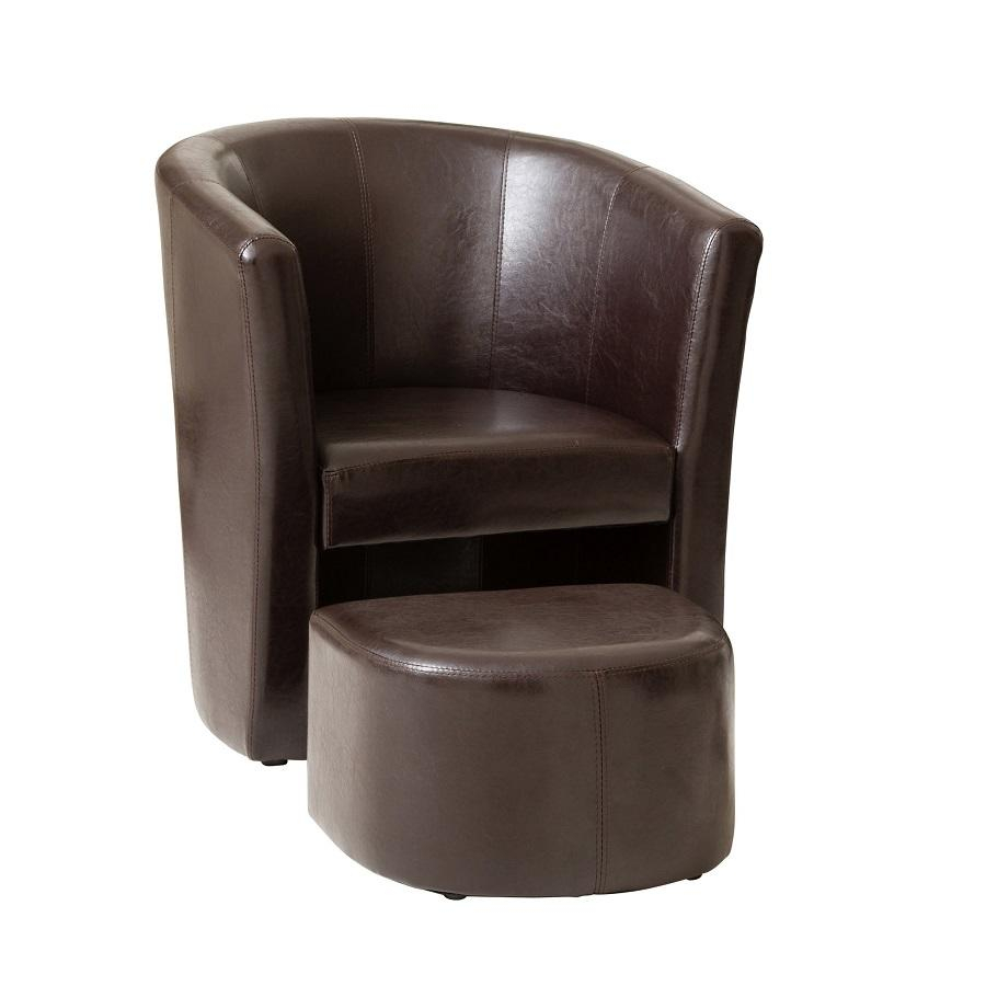Ledbury Pu Leather Tub Chair With Footstool