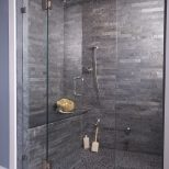 Let The This Gray Shower With Interlocking Slate Tiles Rain On