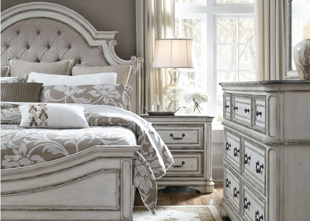 Liberty Magnolia Manor Antique White Upholstered Panel Bedroom Set