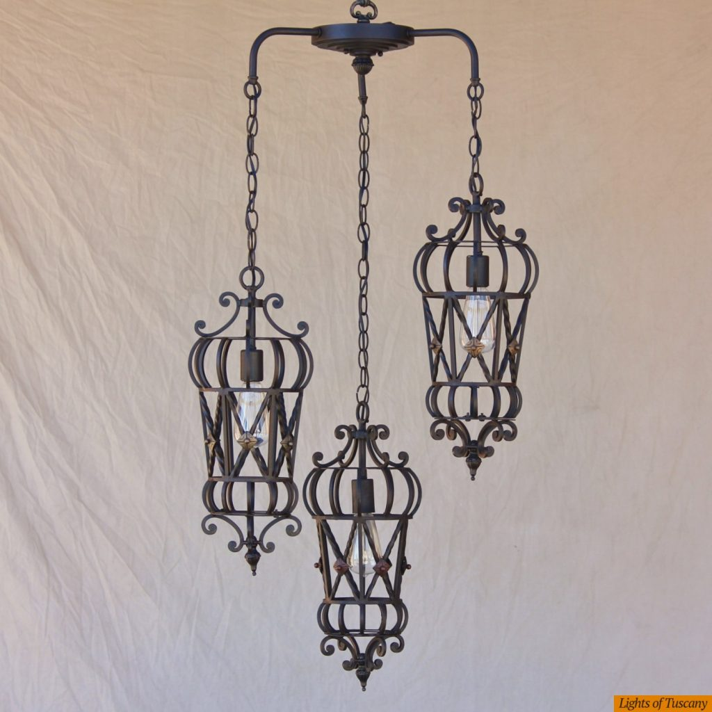 Lights Of Tuscany 6173 3 Mediterranean Style Wrought Iron Pendant