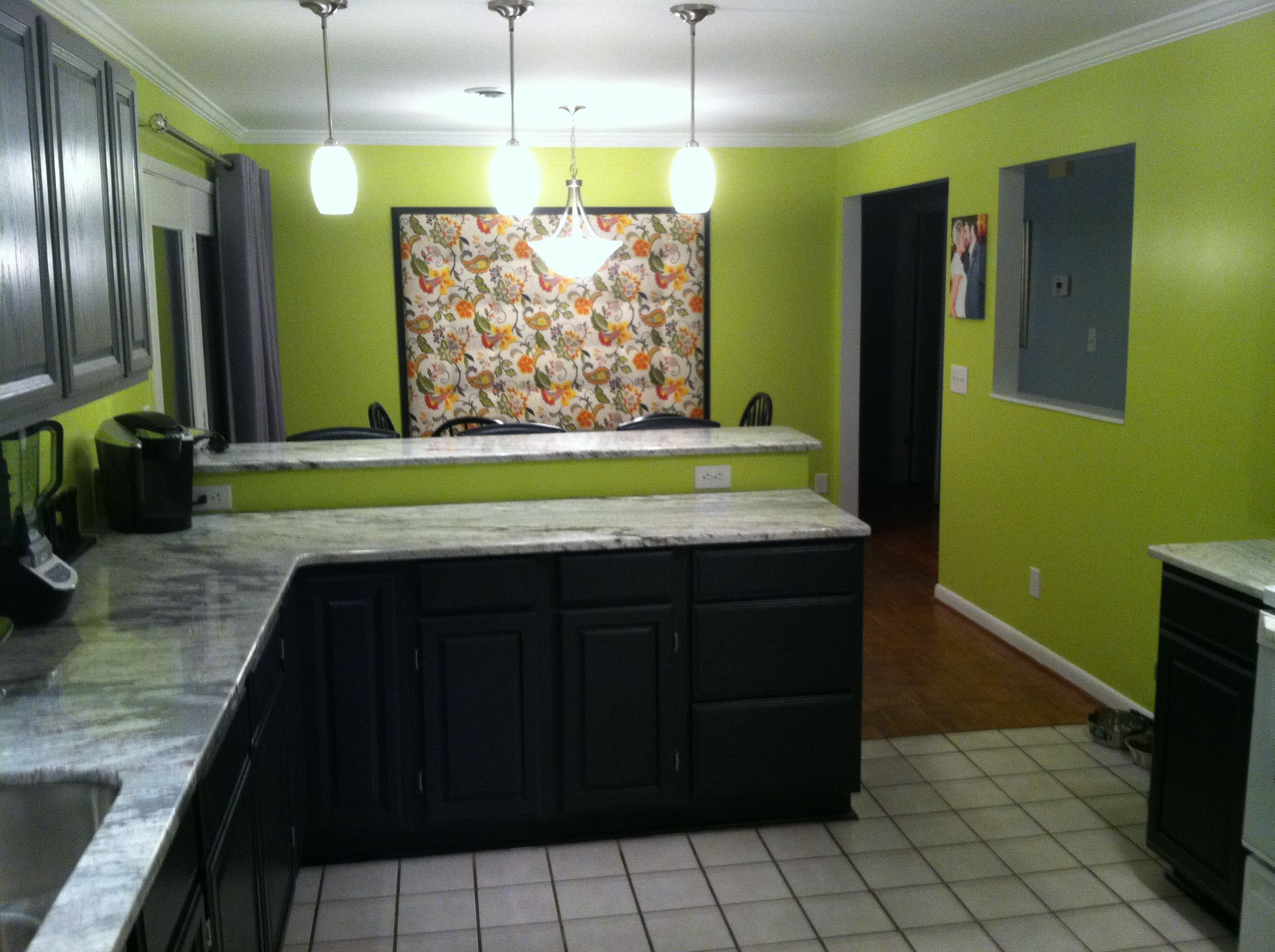 Lime Green Walls With Two Tones Gray And Black Cabinets Sweet Home