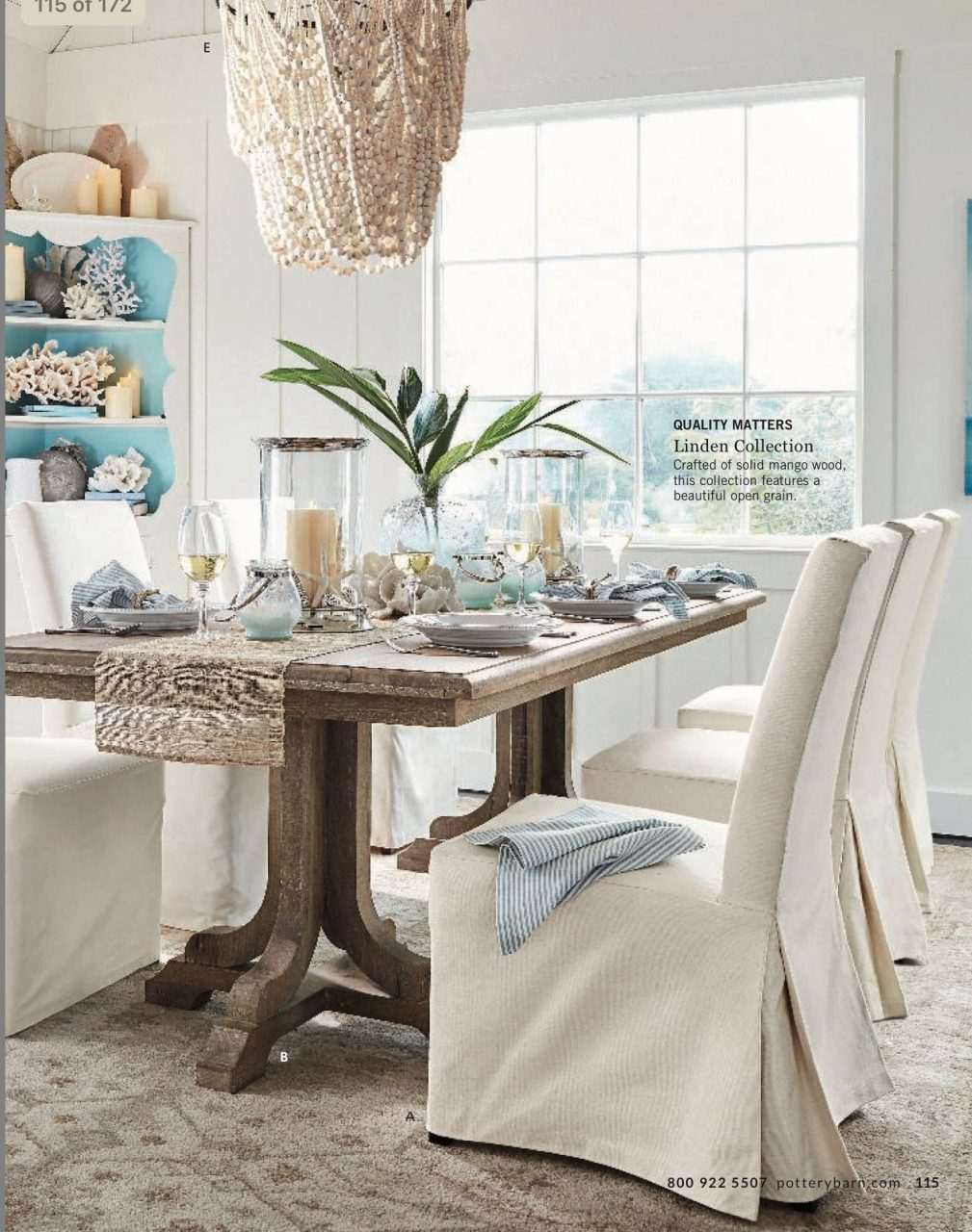 Linden Dining Table Pb Comfort Slipcovered Chairs Shown In