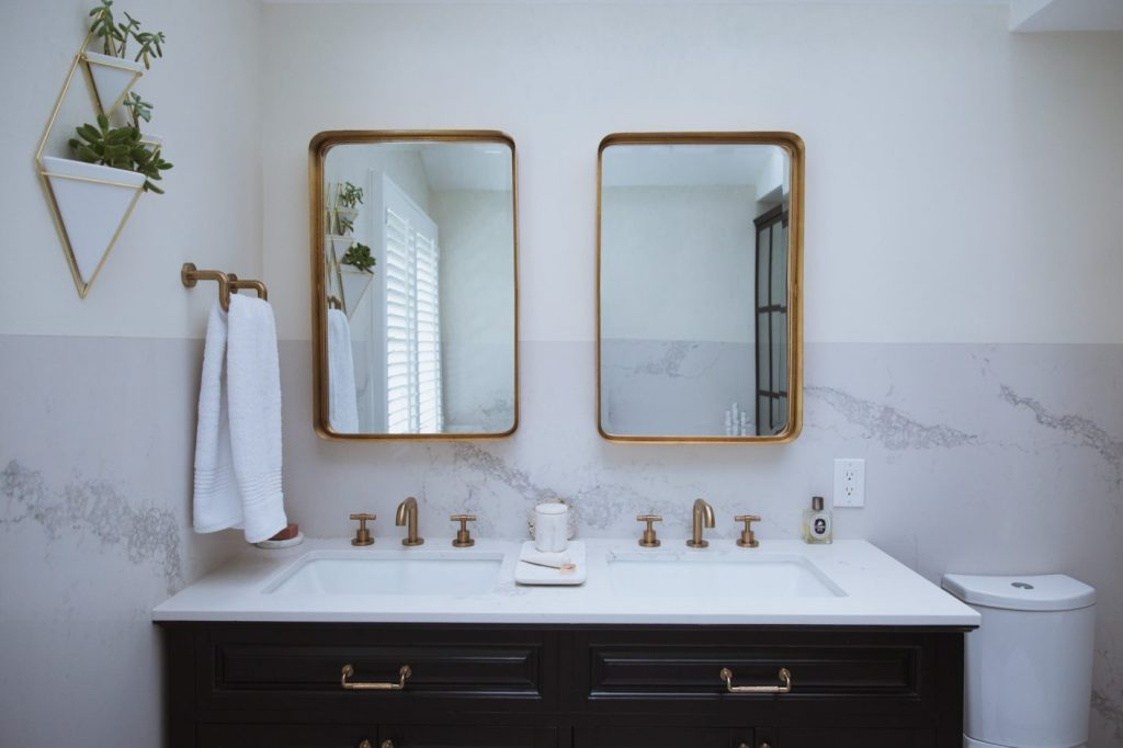 Louise Roe Bathroom Remodel Reveal Featuring Gold Hardware 3 1