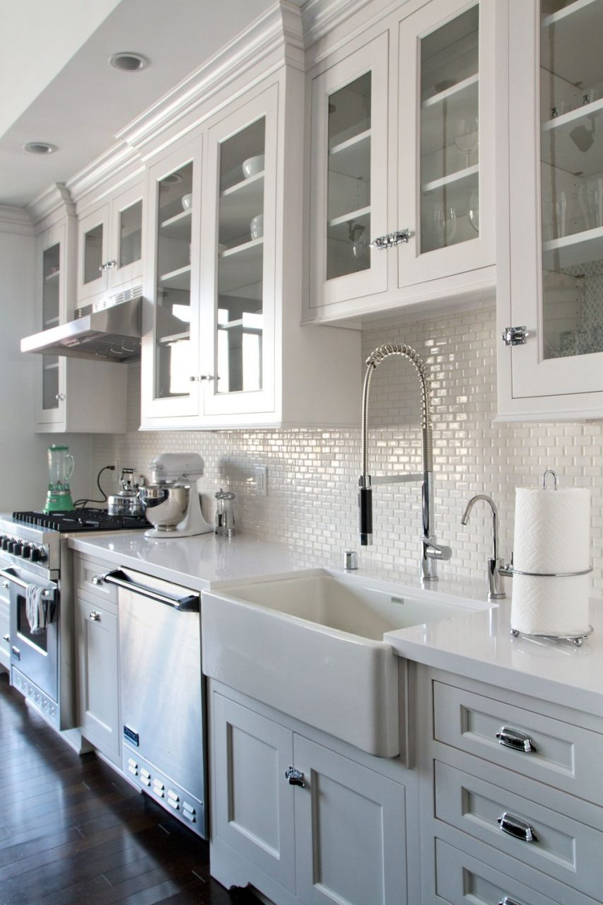 Love White Kitchen Cabinets Glass Doors Dark Wood Floors
