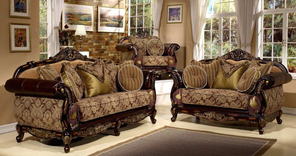 Luxurious Antique Living Room Set For Antique Style 3 Pieces Living