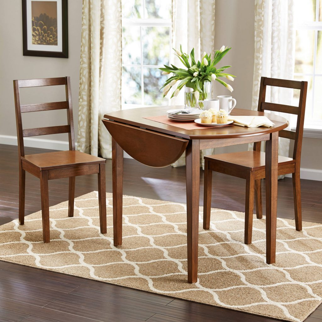 Mainstays 3 Piece Drop Leaf Dining Set Medium Oak Finish Walmart