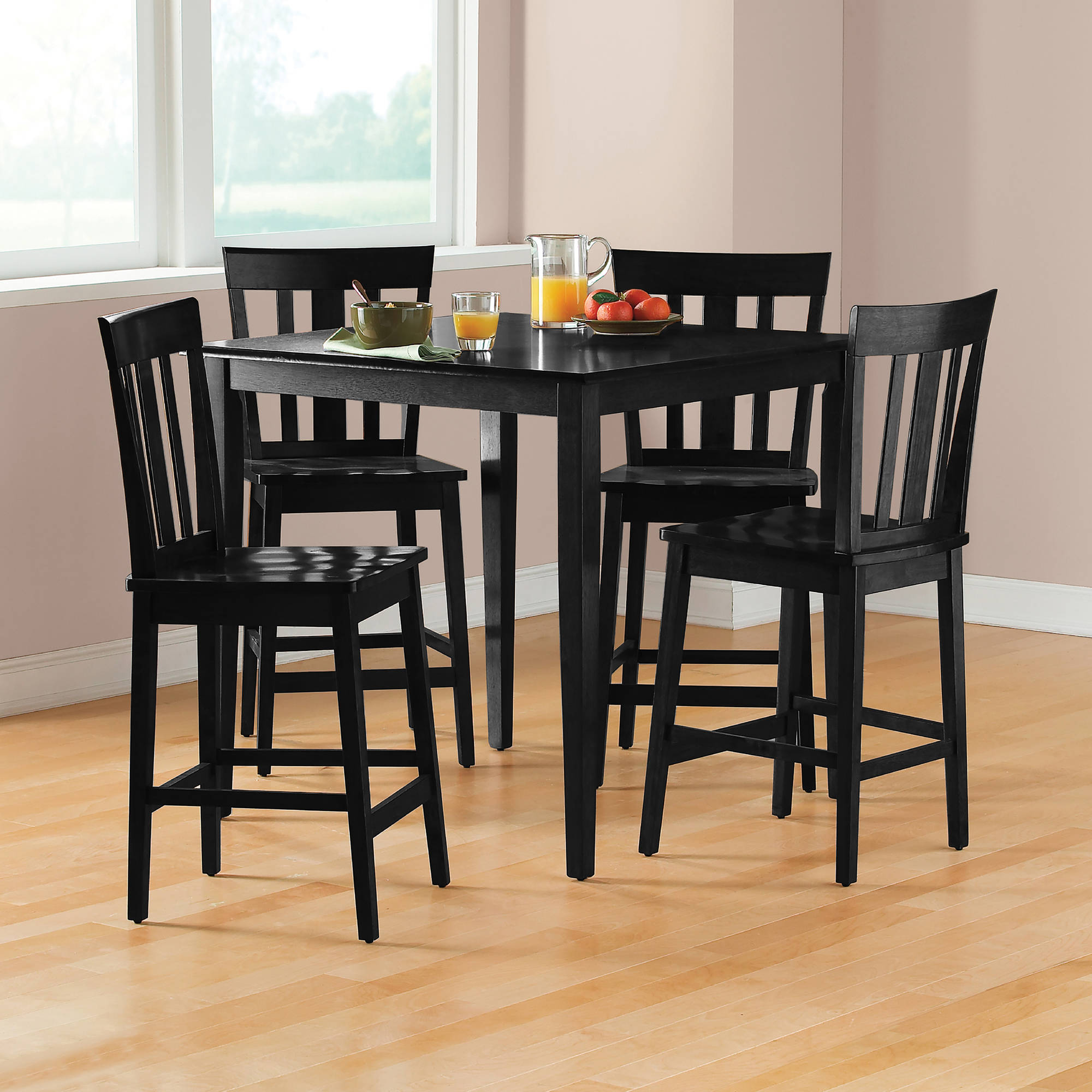 Mainstays 5 Piece Mission Counter Height Dining Set Walmart