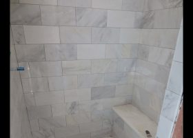 Porcelain Carrara Tile Bathroom