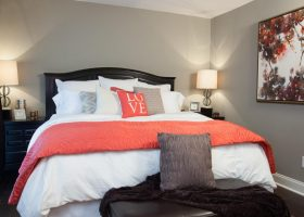 Coral and Grey Bedroom Color Ideas