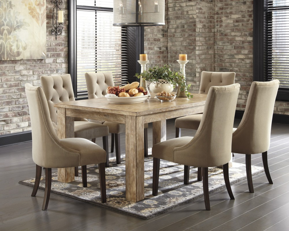 Mestler Bisque Rectangular Dining Room Table 4 Light Brown Uph
