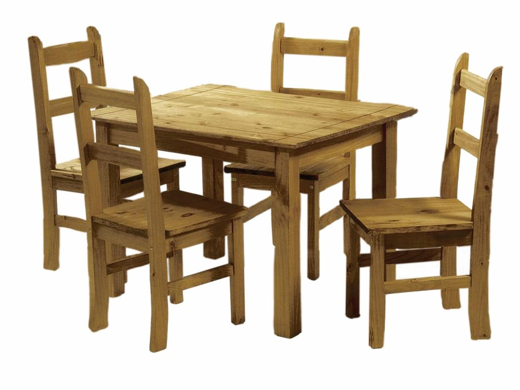 Mexican Pine Dining Table And 4 Chairs Corona Budget Dining Set