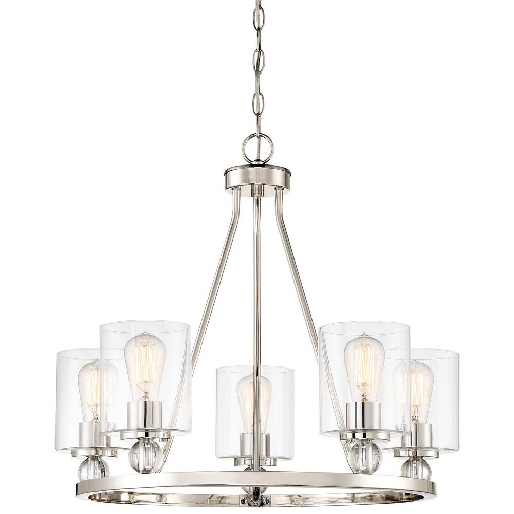 Minka Lavery Studio 5 Collection 5 Light Polished Nickel Chandelier