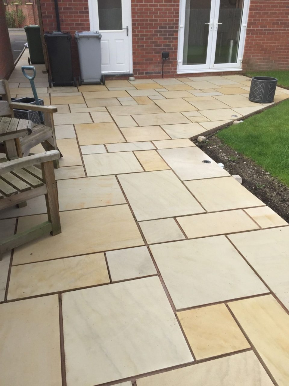 Mint Sawn Rectangle Paving Slabs Indian Sandstone Patio 900x600mm