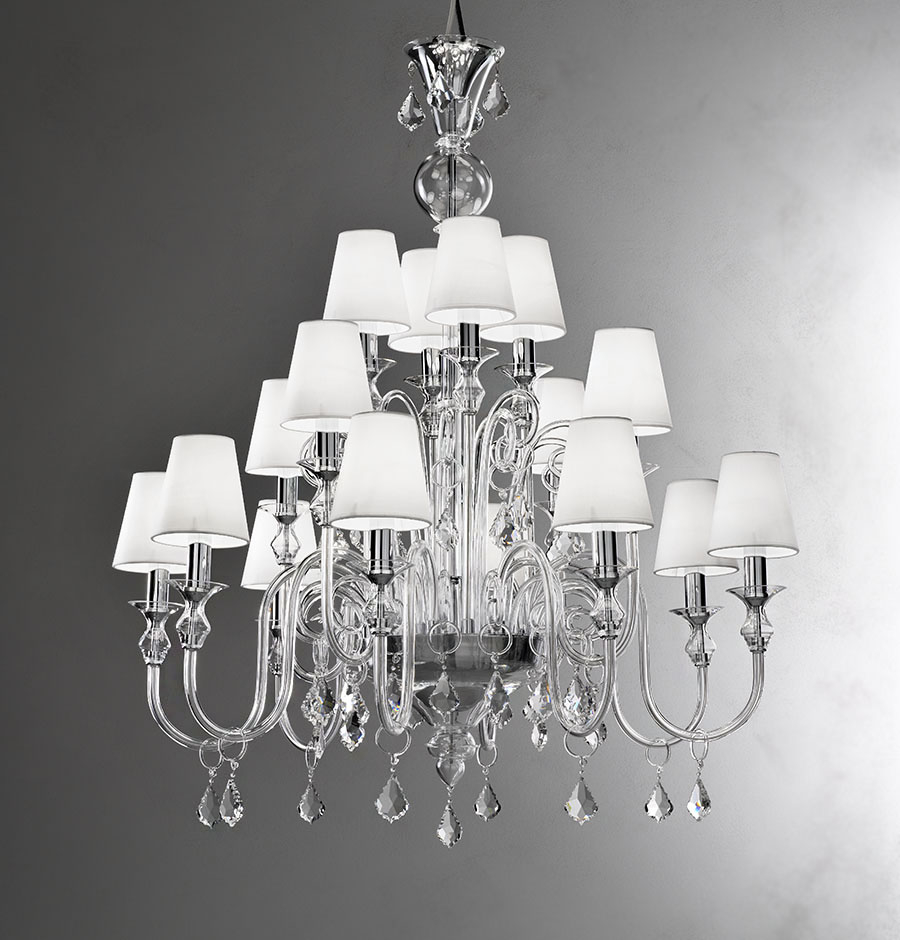 Modern Murano Chandelier L16k Clear Glass Murano Imports