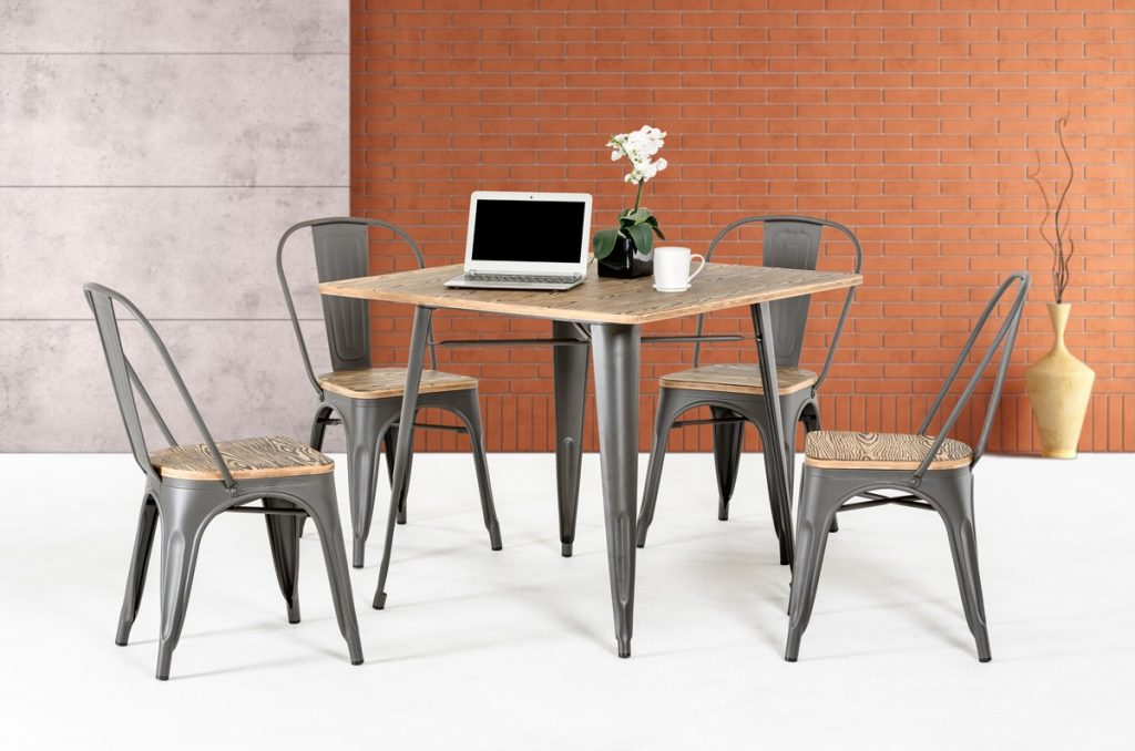 Modrest T 14005 Modern Grey Metal And Wood Square Dining Table