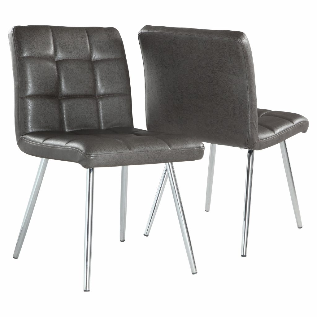 Monarch Dining Chair 2pcs 32h Grey Leatherlook Chrome