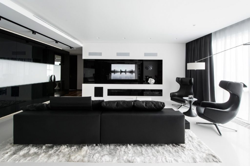 Monochromatic Grey Scale Black And White Black And White Living Room