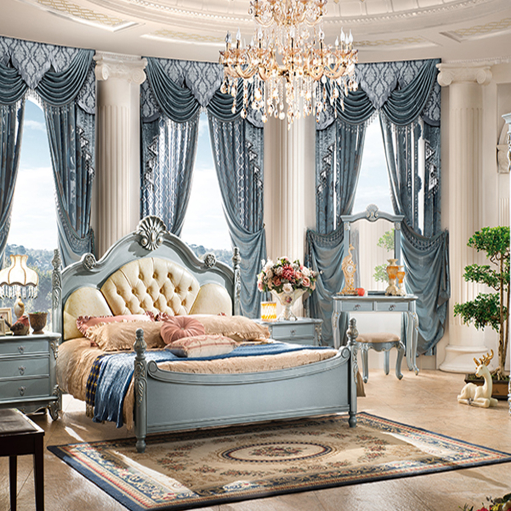 Most Popular Antique Luxury King Size Wood Bedroom Furniture Set