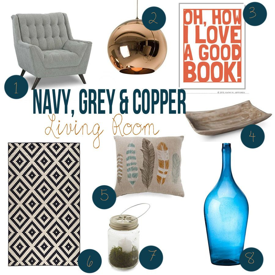 Navy Grey And Copper Living Room Ideas Decor Ideas In 2019