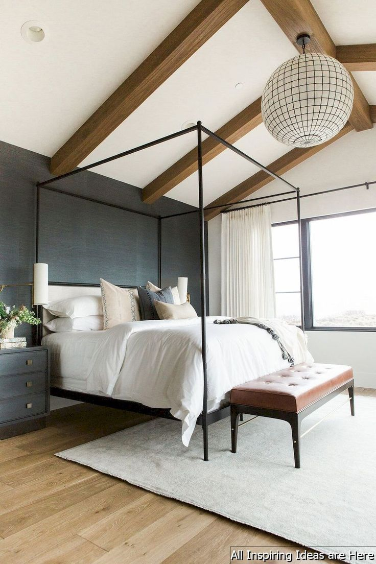 Navy Master Bedroom With Diy Accent Wall Farmhouse Bedrooms
