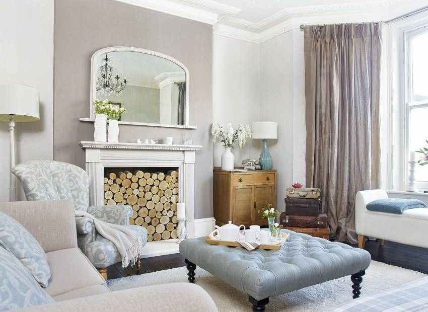 Neutral Traditional Living Room With Log Fireplace Living