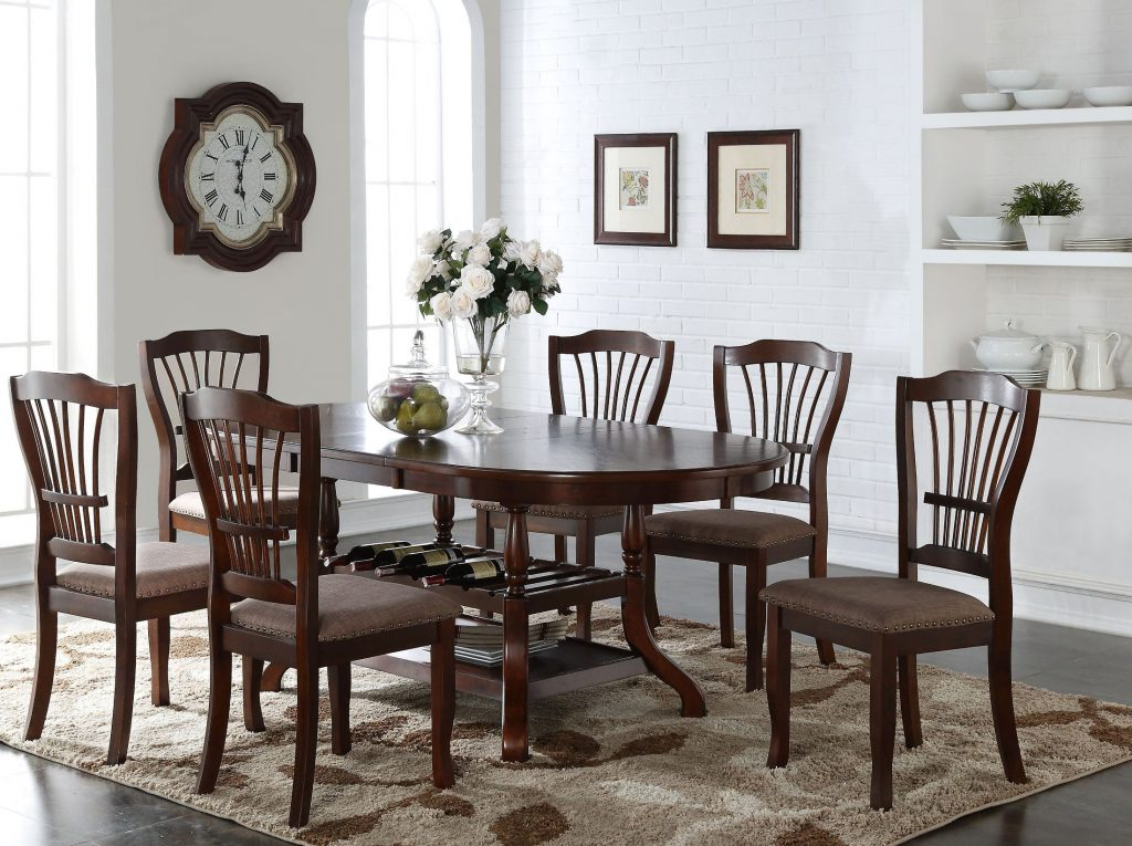 New Classic Bix Espresso Oval Extendable Dining Room Set Bix