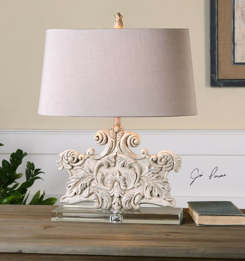 New Crystal Base Stone Ivory Wash Table Lamp Old World Carved Style