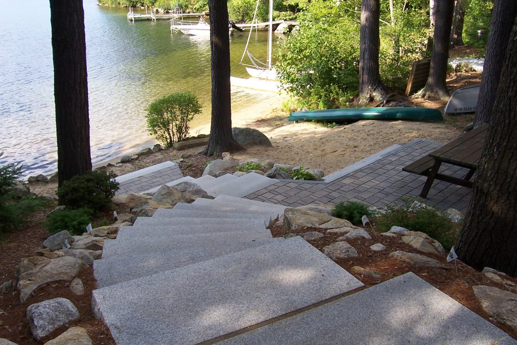 Nh Lakeside Paver Patio With Granite Steps Landscapes Tom Blog