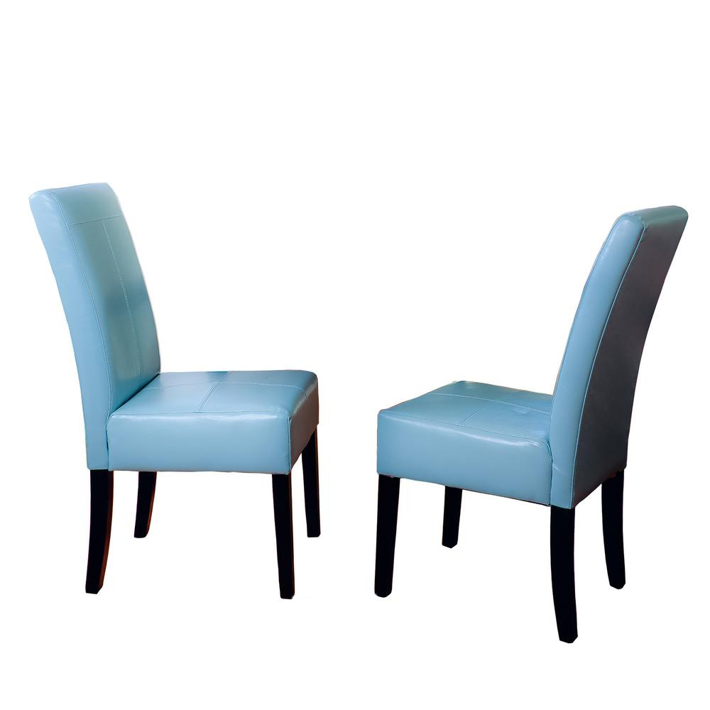 Noble House Pertica Teal Blue Leather T Stitch Dining Chairs Set Of