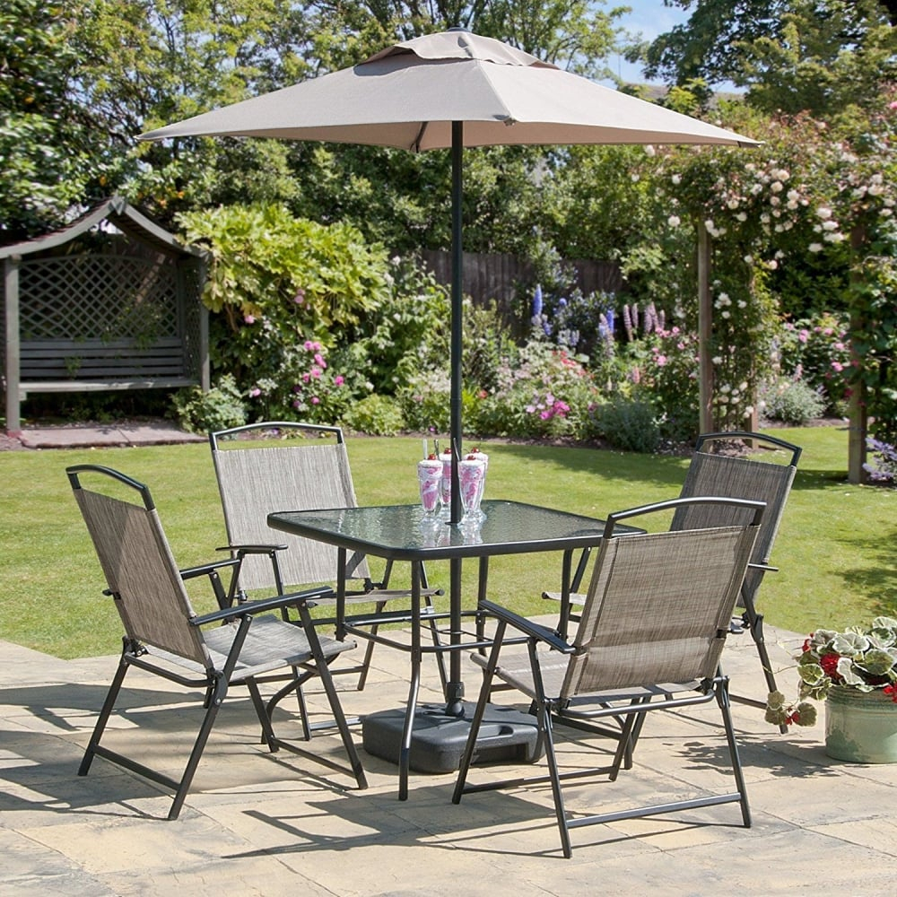 Oasis Patio Set Outdoor Garden Furniture 7 Piece Folding Chairs