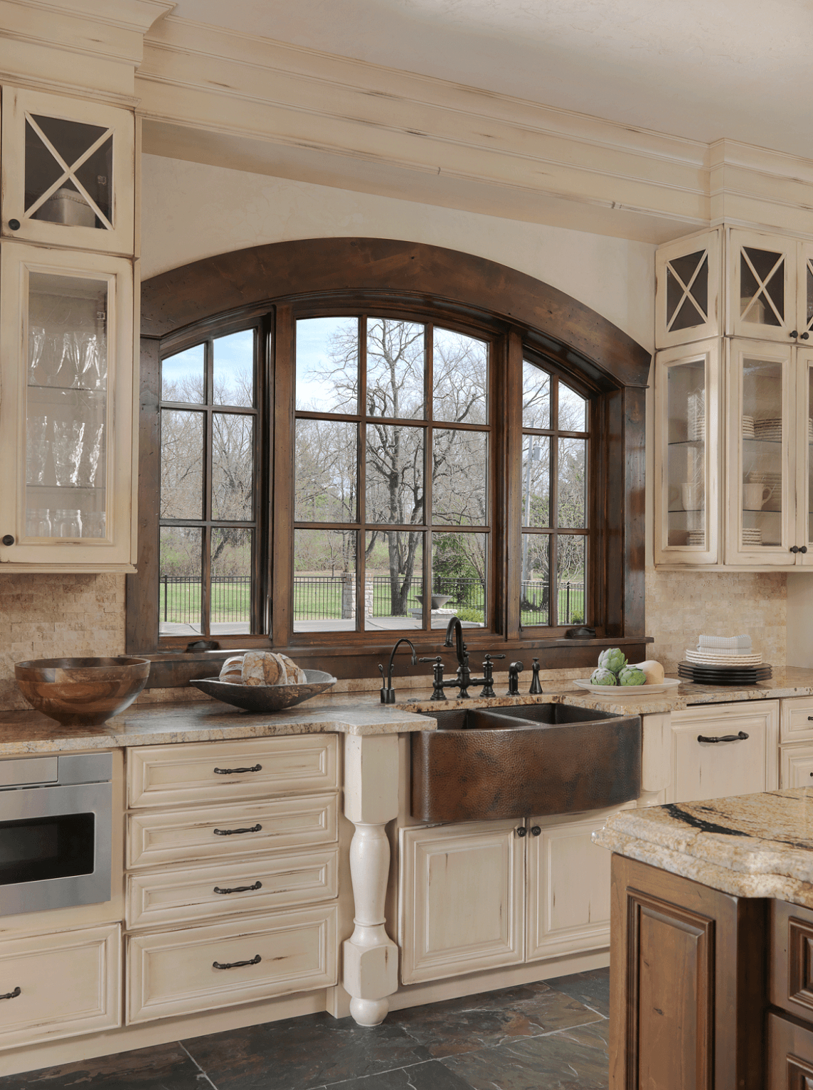 Old World Kitchen With Hammered Copper Sink Love The Window Over The