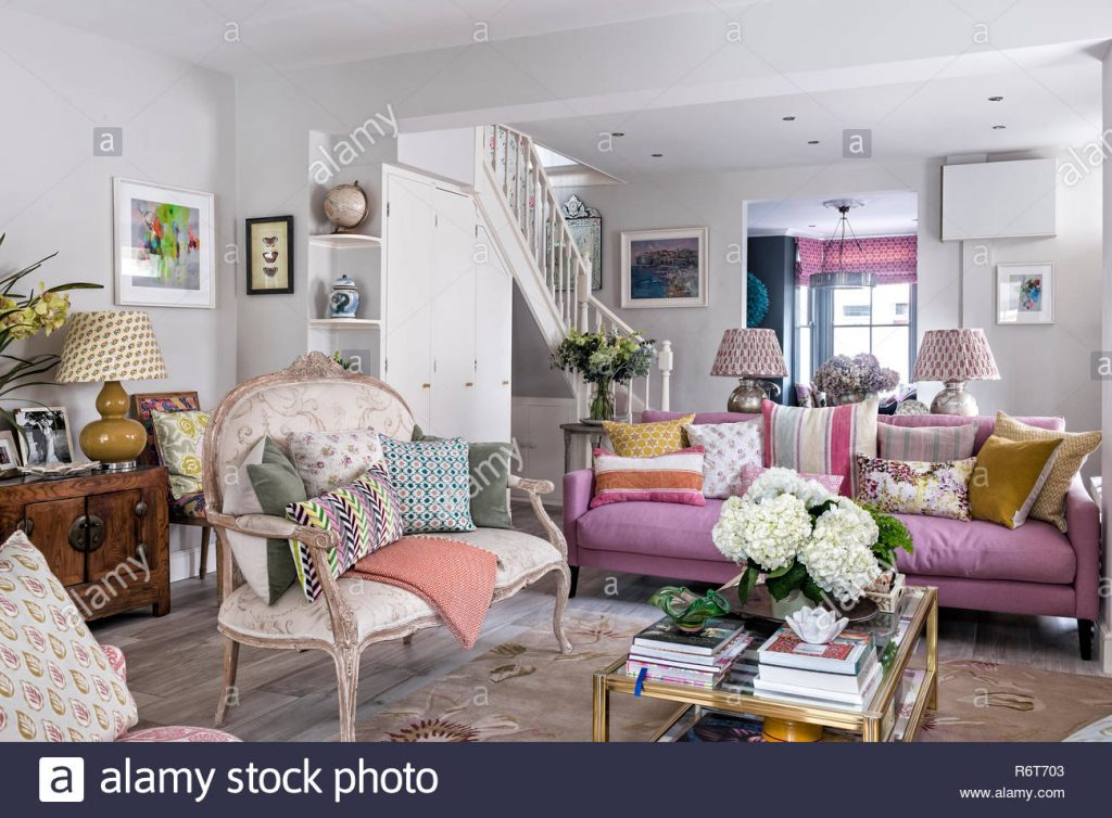 Open Plan Living Room With Vintage French Style Sofa Stock Photo