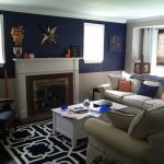 Navy Gray and Orange Living Rooms