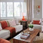 Orange and Taupe Living Room