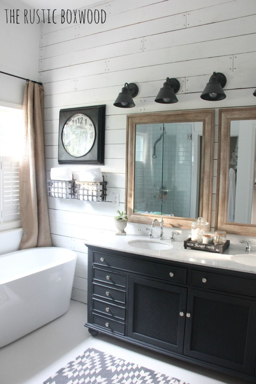 Our Diy Farmhouse Styled Bathroom Makeover The Rustic Boxwood