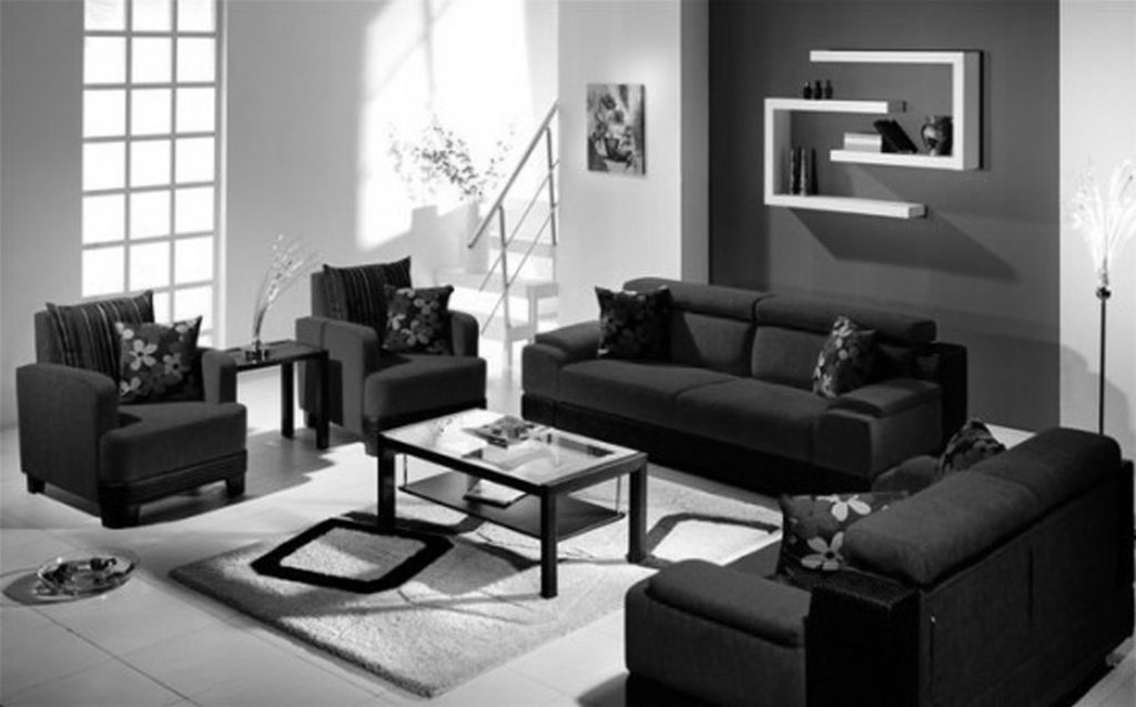 Outstanding Black Living Room Furniture Sofa Sets Curtain And Gloss