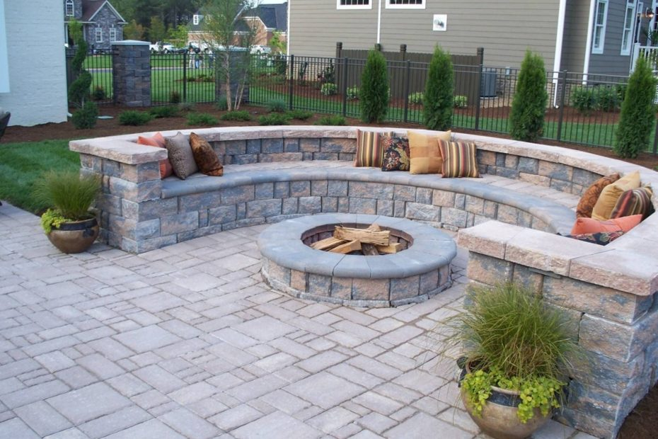 Paver Patio With Firepit And All Around Sitting Wall Backyard