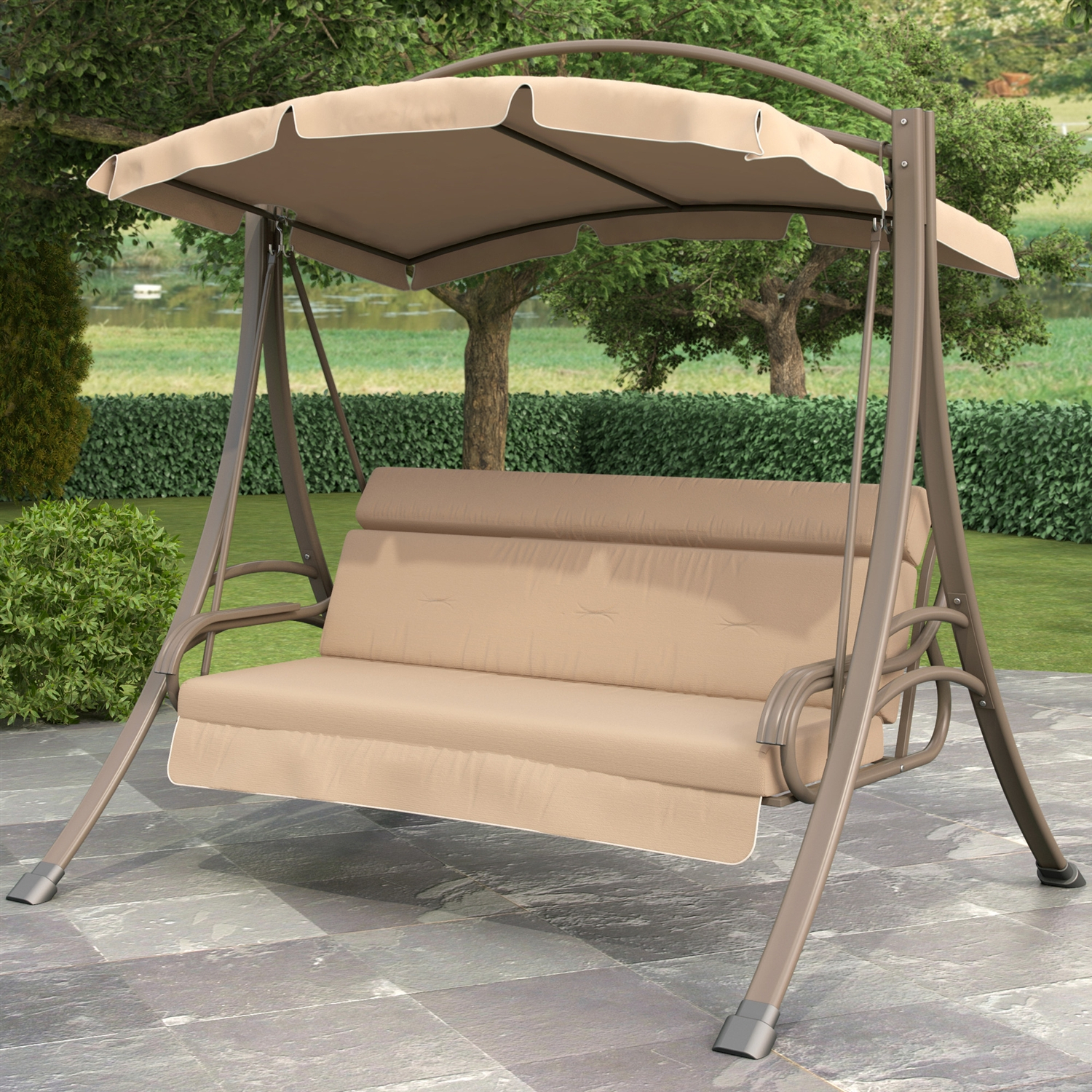 Person Outdoor Porch Swing With Canopy Beige Tan Brown Patio