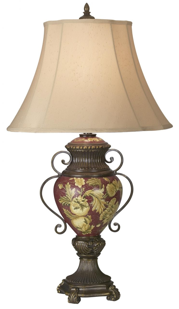 Possini Collection Tuscan Red Floral Urn Table Lamp Lamps