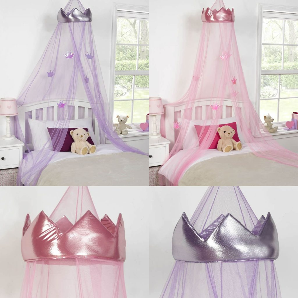 Princess Crown Bed Canopy Kids Childrens Girls Insect Mosquito Net