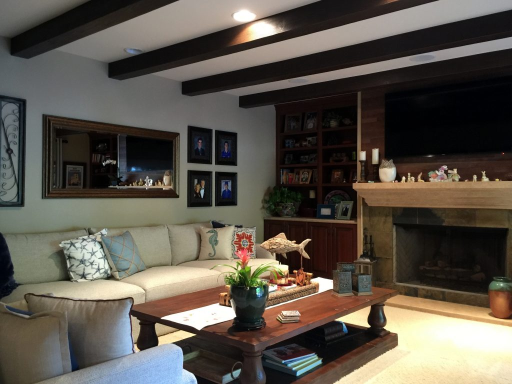 Pro Living Room Remodel With Beams Faux Wood Workshop