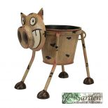 Quirky Metal Hand Painted Goofy Pig Planter For Indoor Or Outdoor