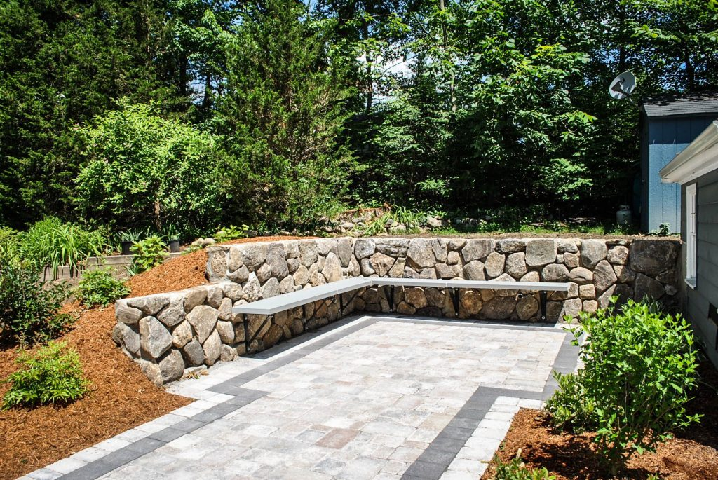 Retaining Wall With Bluestone Bench Wall Projects Patio Patio