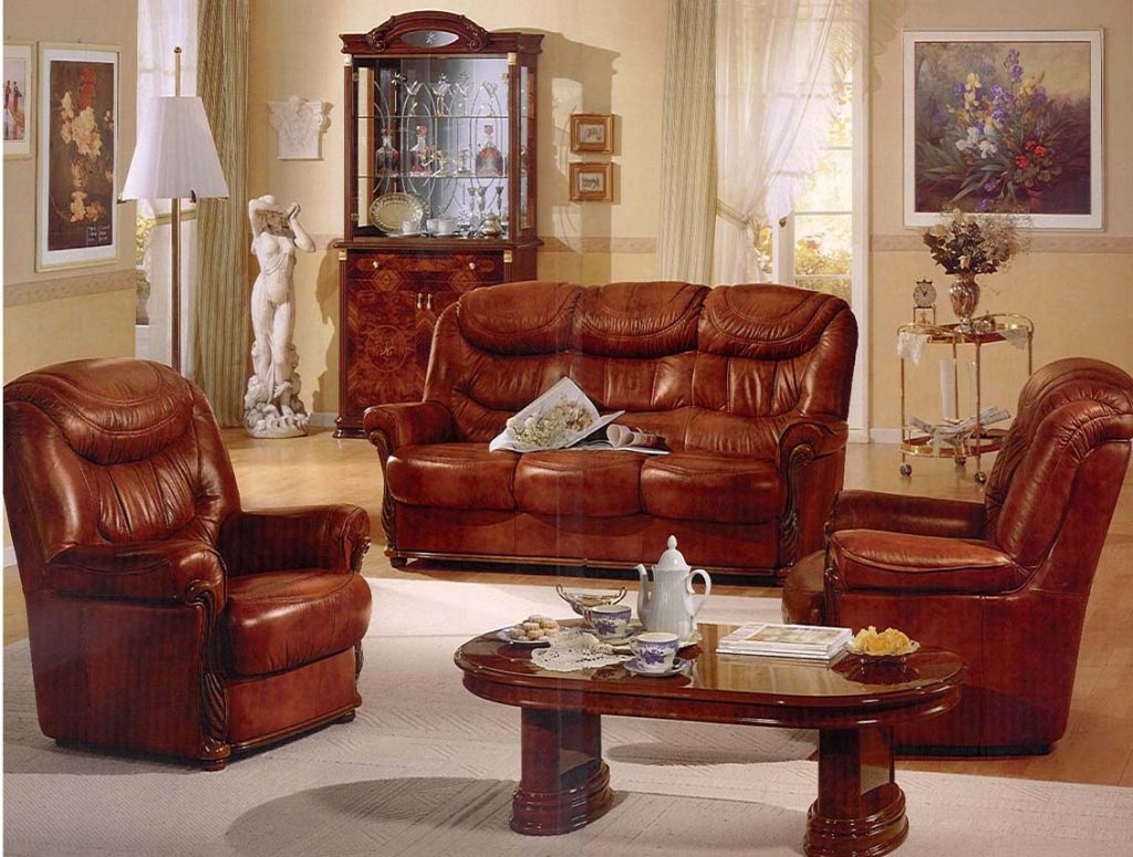 Retro Spanish Style Living Room Design With Brown Leather Sofa And