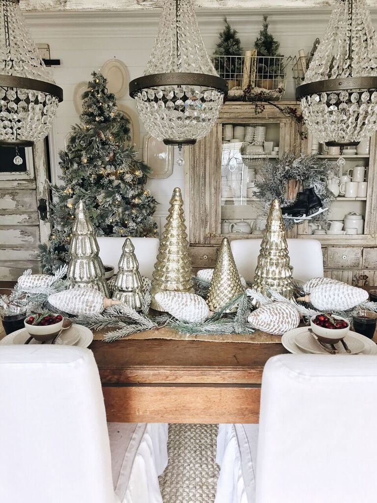 Rustic Glam Cottage Christmas Dining Room Merry Christmas