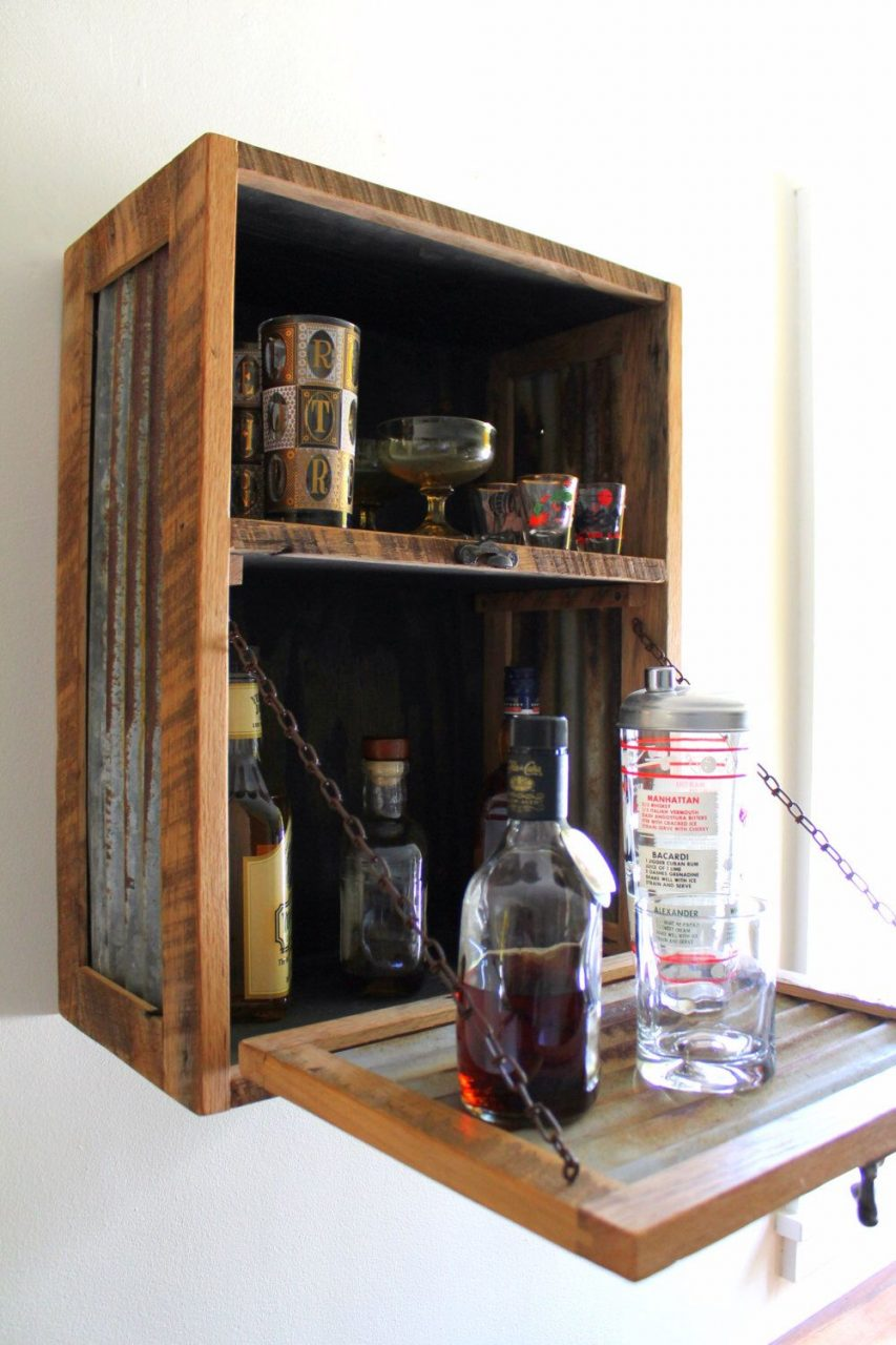 Rustic Hanging Liquor Cabinet Murphy Bar Wall Bar Wine Rack