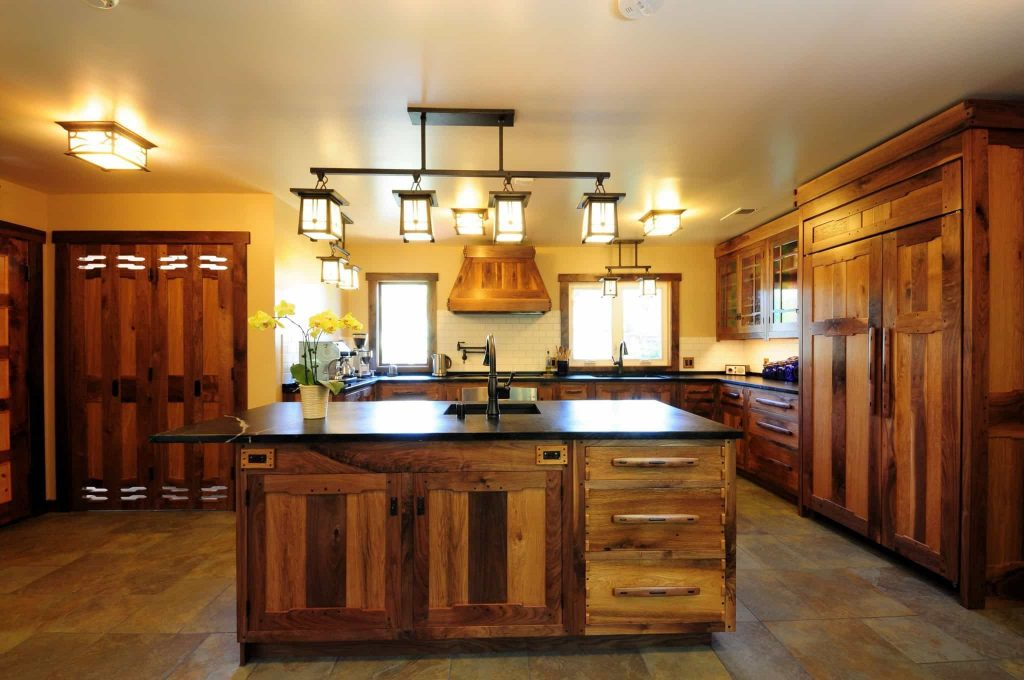Rustic Kitchen Designed With Mission Style Kitchen Island Lighting